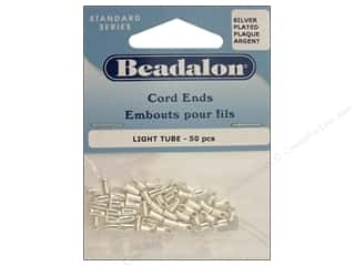 beadalon: Beadalon Cord Ends Light 1.9mm Silver Plate 50pc
