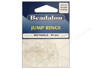 Clearance Blumenthal Favorite Findings: Beadalon Jump Rings Rectangle 6.5 x 10.3 mm Silver 30 pc.