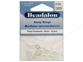 Beadalon Jump Rings Twist 8mm Silver Plated 16pc