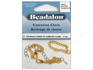 "Beadalon Extension Chain 2"" Lobster Clasp Gold 3pc"