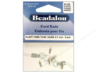 Beadalon Cord Ends Heavy 2.7mm Silver Plated 5pc