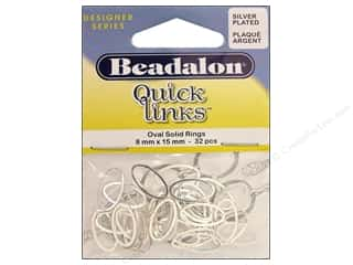 Jump Rings / Spring Rings: Beadalon Quick Links Oval 8 x 15 mm Silver Plated 32 pc.