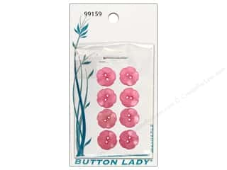 JHB Button Lady Buttons 5/8 in. Pink Flower 8 pc.