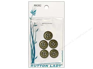 "JHB Button Lady Buttons Antique Brass 5/8"" 5pc"
