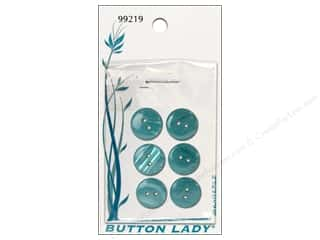 JHB Button Lady Buttons 5/8 in. Turquoise Blue 6 pc.