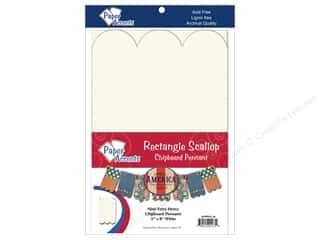 "Paper Accents Chipboard Pennants Rectangle Scallop 5""x 8"" White 9pc"