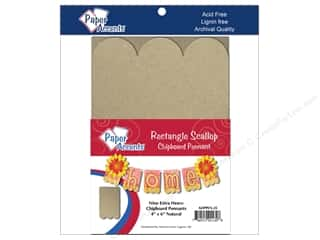 "Paper Accents Chipboard Pennants Rectangle Scallop 4""x 6"" Natural 9pc"