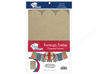 Chipboard Hot: Paper Accents Chipboard Pennants 5 x 8 in. Scallop Rectangle 9 pc. Kraft