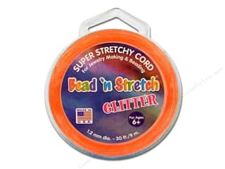 Lanyard Braiding Clear: Toner Bead 'N Stretch Cord 1.2mm Glitter Orange 30ft