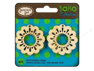 Darice Wood Boho Buttons Natural Flower 4pc