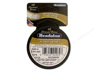 Clearance Blumenthal Favorite Findings: Beadalon Bead Wire 19 Strand .024 in. Gold Plated 15ft.