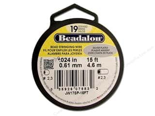 Beadalon Bead Wire 19 Strand .024&quot; Slvr Plate 15&#39;