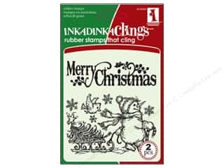 Inkadinkado Stamp Inkadinkaclings Merry Christmas Snowmen