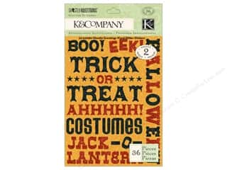Glitter Halloween: K&Company Stickers Ghostly Greetings Glitter Word