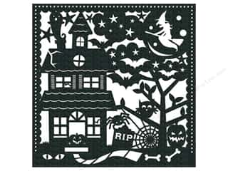 K & Company K&Company 12 x 12 in. Paper: K&Company 12 x 12 in. Paper Ghostly Greetings Glitter Silhouette Haunted House (12 sheets)
