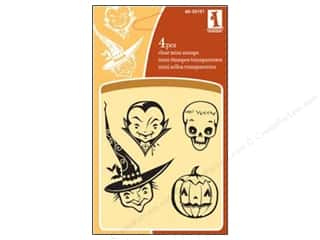 Clearance Inkadinkado Clear Stamp Mini: Inkadinkado InkadinkaClings Clear Stamp Mini Halloween Faces