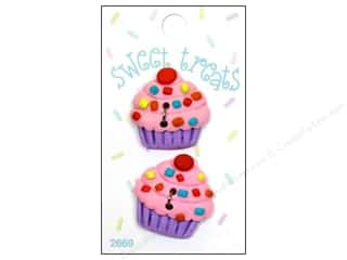 Blumenthal Button Sweet Treats Cupcake Pink 2pc