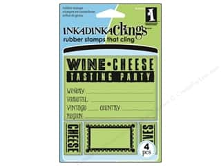 Inkadinkado InkadinkaClings Rubber Stamp Wine and Cheese Party