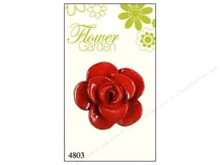 button: Blumenthal Button Flower Garden Rose Shiny Red 1pc