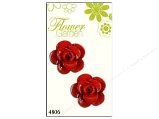Blumenthal Button Flower Garden Rose Shiny Red 2pc
