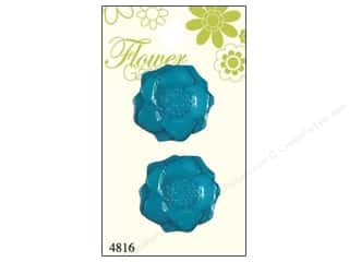 Blumenthal Sewing Construction: Blumenthal Shank Buttons Turquoise Anemone 2 pc.