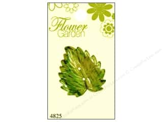 button: Blumenthal Button Flower Garden Leaf Mtl Green 1pc