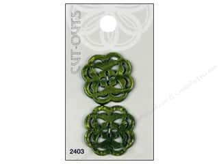 Blumenthal Buttons Cut Outs 1 1/8 in. Green 2 pc.