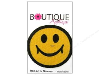 Blumenthal Embroidered Appliques: Blumenthal Boutique Applique 1 7/8 in. Yellow Happy Face