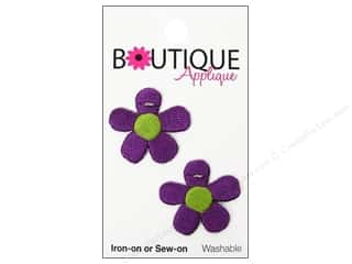 Blumenthal Embroidered Appliques: Blumenthal Boutique Applique 1 in. Purple Flowers 2 pc.