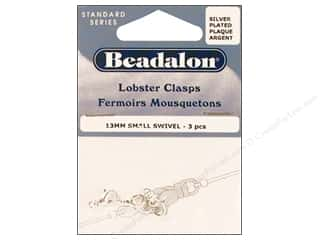 Clasps: Beadalon Lobster Clasps Swivel 13mm Silver 3pc