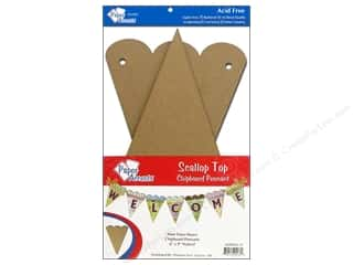 "Paper Accents Chipboard Pennants Scallop Top 6""x 9"" Natural 9pc"