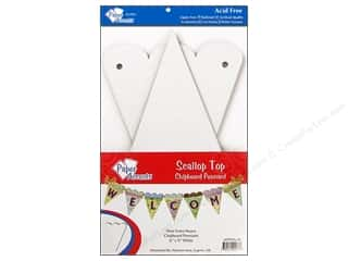 "Paper Accents Chipboard Pennants Scallop Top 6""x 9"" White 9pc"
