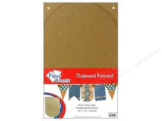 """chipboard""  10x16: Paper Accents Chip Pennant Arched 10x16 XL Nat 5pc"