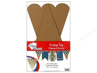 "Paper Accents Chipboard Pennants Scallop Top 10""x 16"" Extra Large Natural 5pc"