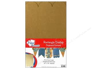 "Paper Accents Chipboard Pennants Rectangle Scallop 10""x 16"" Extra Large Natural 5pc"