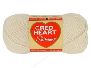 Yarn Polyester / Acrylic / Poly Blend Yarns: Red Heart Shimmer Yarn 3.5 oz. #1113 Ivory