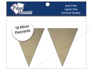 "Paper Accents Chipboard Pennants 1.25""x 2"" Micro Natural 18pc"
