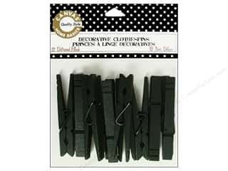 Clothespins: Canvas Corp Decorative Clothespins Black 12 pc.