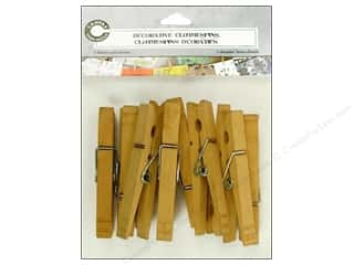 Canvas Corp Embel Clothespins Decor Warm Brn 12pc