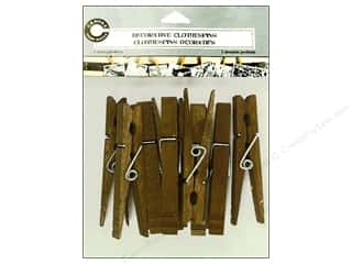 Push Pins Basic Components: Canvas Corp Decorative Clothespins 12 pc. Jacobean
