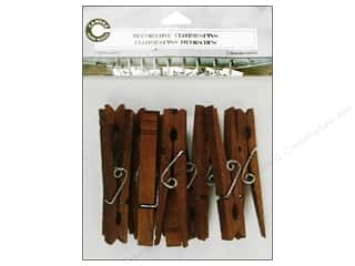 Clearance Basic Components: Canvas Corp Decorative Clothespins 12 pc. Merlot