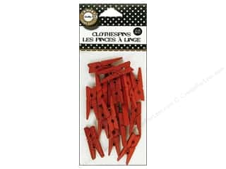 Push Pins Basic Components: Canvas Corp Mini Clothespins 25 pc. Red
