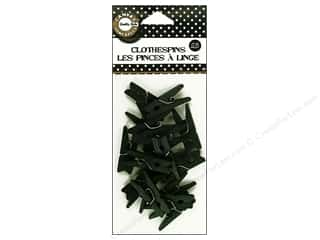 Push Pins Basic Components: Canvas Corp Mini Clothespins 25 pc. Black
