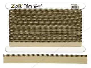 Kandi ZipR Trim Brass Teeth Beige (10 yards)