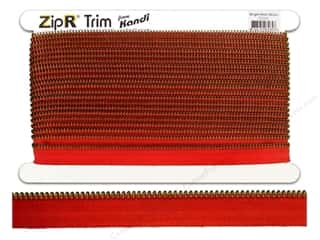 Kandi ZipR Trim Brass Teeth Bright Red (10 yards)