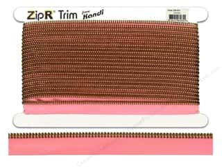 Kandi ZipR Trim Brass Teeth Pink (10 yards)