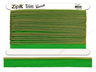 Kandi ZipR Trim Brass Teeth Green (10 yards)