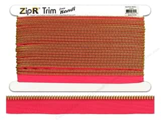 Kandi ZipR Trim Brass Teeth Hot Pink (10 yards)
