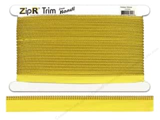 Clearance Kandi ZipR Trim: Kandi ZipR Trim Brass Teeth Yellow (10 yards)