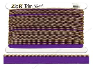 Kandi ZipR Trim Brass Teeth Purple (10 yards)
